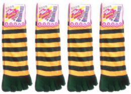 24 Units of Women's Toe Socks - Green & Gold Striped Print - Size 9-11 - Women's Toe Sock