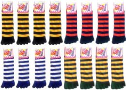 120 Units of Women's Striped Toe Socks Mega Mix (Size 9 - 11) - Women's Toe Sock