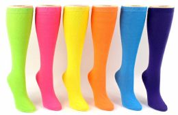 24 Units of Women's Novelty Knee High Socks - Solid Colors - Size 9-11 - Womens Knee Highs