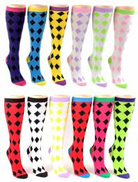 24 Units of Women's Knee High Novelty Socks - Argyle Print - Size 9-11 - Womens Knee Highs