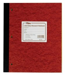 "5 Units of TOPS Laboratory Research Notebook, 11"" x 9-1/4"", Quad Rule ( 4 x 4 front), White Paper, Red Pressboard Cover, 100 Sheets per Book - Notebooks"