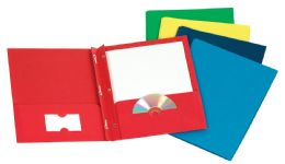 125 Units of TOPS Leatherette Two Pocket Portfolio, Fasteners, Assorted Colors, 25 Pack - Fasteners