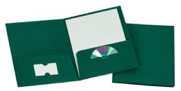 125 Units of Tops Leatherette Two Pocket Portfolio, Hunter Green, 25 Pack - Folders & Portfolios