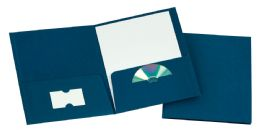 125 Units of TOPS Leatherette Two Pocket Portfolio, Navy, 25 Pack - Folders & Portfolios