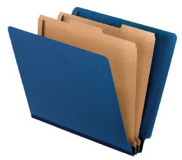 "5 Units of Classification Folder - End Tab, 2 Divider, 2"" Bonded, Ltr, Dark Blue, 10/bx - Folders & Portfolios"