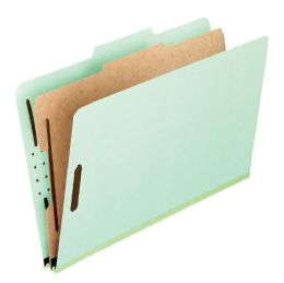 "5 Units of Classification Folders - Standard, 1 Divider, 2"" Embedded, Lgl, Light Green, 10/bx - Folders & Portfolios"