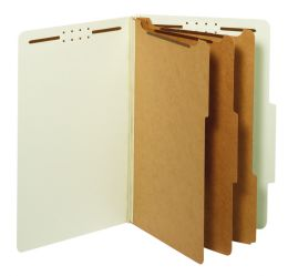 5 Units of Classification Folders, Standard, 3 Dividers, Embedded Fasteners, 2/5 Cut Tab, Light Green, Legal, 10/bx, 5 Bx/ct - Folders & Portfolios