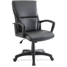 Lorell Euro Design Leather Exec. Mid-back Chair - Sign