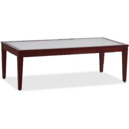 Lorell Glass Top Mahogany Frame Table - Frame