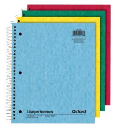 24 Units of TOPS Oxford 3 Subject Notebook, 11 x 8.872, College Ruled, Assorted, 150 Sheets - Notebooks