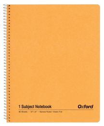 "48 Units of TOPS Oxford Single Wire Notebook, 10"" x 8"", 1 Subject, Kraft Cover, 80 Sheets, Narrow Ruled, Greentint - Notebooks"