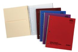 24 Units of TOPS Oxford Single Wire Notebook, 11 x 8 7/8, 2 Subject, Assorted Neon Covers, 100 Sheets, College Ruled - Notebooks