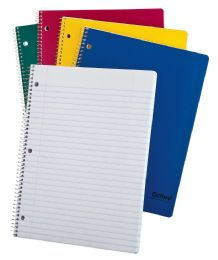 "48 Units of TOPS Oxford Single Wire Notebook, 11"" x 8 1/2"", 1 Subject, Assorted Kraft Covers, 100 Sheets, Wide Ruled, White - Notebooks"