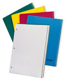 "24 Units of TOPS Oxford Single Wire Notebook, 11"" x 8 7/8"", 1 Subject, Left Hand Open, Assorted Kraft Covers, College Ruled, 80 Sheets, White - Notebooks"