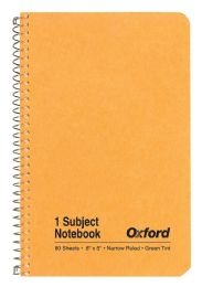"48 Units of TOPS Oxford Single Wire Notebook, 8"" x 5"", 1 Subject, Kraft Cover, 80 Sheets, Narrow Ruled, Greentint - Notebooks"