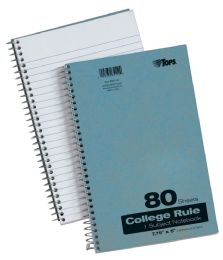 "24 Units of TOPS Pressboard Notebook, 1-Subject, Wirebound, 7-3/4"" x 5"", College Rule, Blue Covers, 80 Sheets per Book - Notebooks"