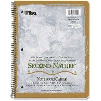 TOPS Quad-ruled Second Nature 1-subject Notebook - Notebooks