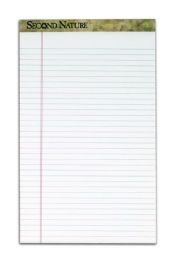 """6 Units of TOPS Second Nature 100% Recycled Legal Pad, 8-1/2"""" x 14"""", Perforated, White, Legal/Wide Rule, 50 Sheets per Pad, 12 Pads per Pack - Note Books & Writing Pads"""