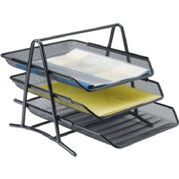 Lorell Steel Mesh 3-Tier Mesh Desk Tray - Office Supplies