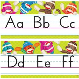 60 Units of Trend Sock Monkeys Alphabet Line Standard Manuscript Bulletin Board Set - Bulletin Boards & Push Pins