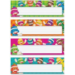 144 Units of Trend Sock Monkeys Coll. Desk Topper Name Plates - Classroom Learning Aids