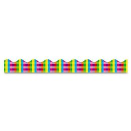 204 Units of Trend Terrific Trimmers Rainbow Plaid Bulletin Board Trimmer - Bulletin Boards & Push Pins