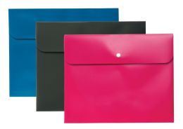 8 Units of Two Pocket Folder with Snap Closure, 3 Pack (Blue, Pink, Gray) - Folders & Portfolios