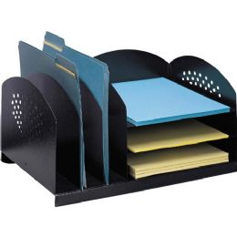 Safco 3 & 3 Combination Rack Desktop Organizer - Storage and Organization