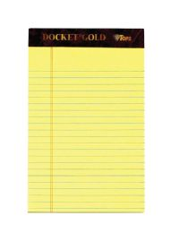 "6 Units of Docket Gold Writing Tablet, 5"" x 8"", Perforated, Canary, Narrow Rule, 50 SH/PD, 6 PD/PK - Note Books & Writing Pads"