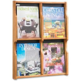 6 Units of Safco Expose 4 Magazine/8 Pamphlet Oak Display - Office Supplies