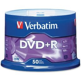 Verbatim 95037 DVD Recordable Media - DVD+R - 16x - 4.70 GB - 50 Pack Spindle - Data Media