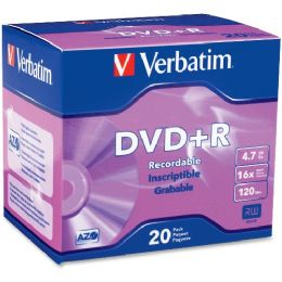 54 Units of Verbatim 95038 Dvd Recordable Media - Dvd+r - 16x - 4.70 Gb - 20 Pack Slim Case - Data Media