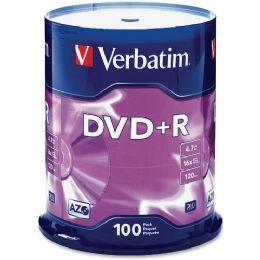 Verbatim 95098 Dvd Recordable Media - Dvd+r - 16x - 4.70 Gb - 100 Pack Spindle - Data Media