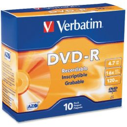 Verbatim 95099 Dvd Recordable Media - DvD-R - 16x - 4.70 Gb - 10 Pack Slim Case - Data Media