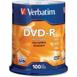 Verbatim 95102 Dvd Recordable Media - DvD-R - 16x - 4.70 Gb - 100 Pack Spindle - Data Media