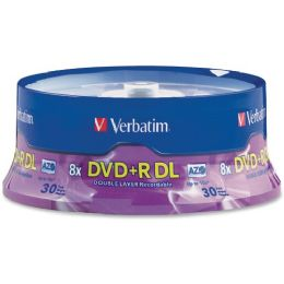 Verbatim 96542 Dvd Recordable Media - Dvd+r Dl - 8x - 8.50 Gb - 30 Pack Spindle - Data Media