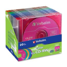 42 Units of Verbatim 96685 Cd Rewritable Media - CD-Rw - 12x - 700 Mb - 20 Pack Slim Case - Data Media