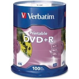Verbatim Dvd Recordable Media - Dvd+r - 16x - 4.70 Gb - 100 Pack Spindle - Retail - Data Media