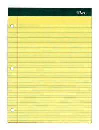 """12 Units of Double Docket Writing Tablet, 8-1/2"""" x 11-3/4"""", Perforated, Canary, Narrow Rule, 100 SH/PD, 2 PD/PK - Note Books & Writing Pads"""