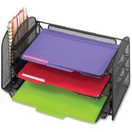 Safco Mesh Desktop Organizer with Sliding Tray - Office Supplies