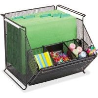 Safco Onyx Stackable Mesh Storage Bin - Storage and Organization