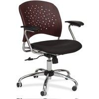 Safco Reve Task Chair Round Plastic Wood Back - Office Chairs
