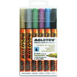 11 Units of MOLOTOW One4All 2mm Acrylic Markers Metallic Set - Markers