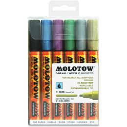 10 Units of MOLOTOW One4All 4mm Acrylic Markers Metallic Set - Markers