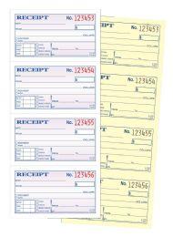 12 Units of Money/Rent Receipt, 2-Part, Carbonless, 4/PG, 200 ST/BK - Office Supplies