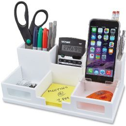 Victor Pure White Collection Wood Desk Organizer with Smart Phone Holder - Storage & Organization