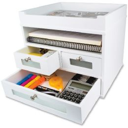 Victor Pure White Collection Wood Tidy Tower Organizer - Organizer