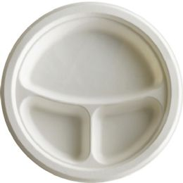 EcO-Products 10 Inch 3-Compartment Sugarcane Plate - Office Supplies