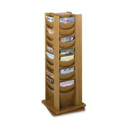 Safco Rotating Wood Display - Office Supplies