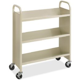 Safco Steel 3-Shelf SinglE-Sided Book Carts - Office Supplies